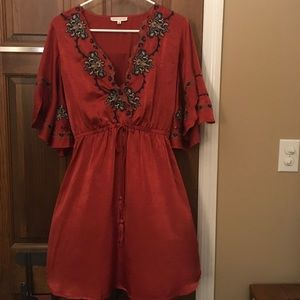Silky embroidered dress